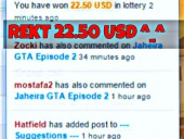 You have won 22.50 USD in Lottery <3